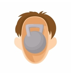 Head with kettlebell icon cartoon style vector image