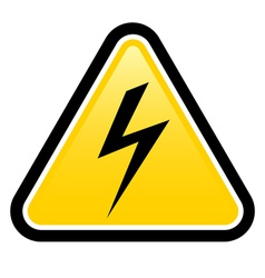 High voltage yellow warning sign vector image vector image