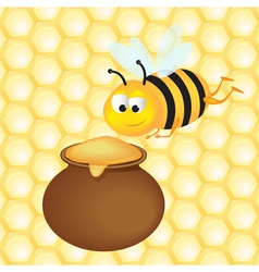 honey pot and bee vector image
