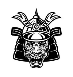 japanese samurai warrior mask in helmet vector image