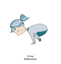 kid yoga pose crow vector image