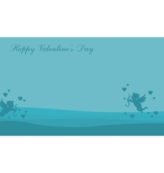 Landscape of valentine with cupid vector