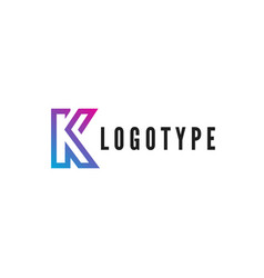 letter k logotype blue and purple gradient stroke vector image