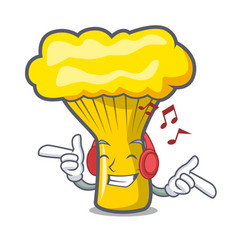 Listening music chanterelle mushroom mascot vector