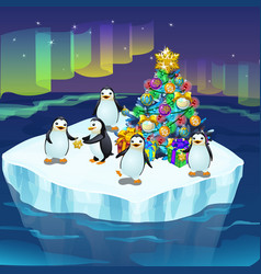 Little cute penguins on an ice floe decorate a vector