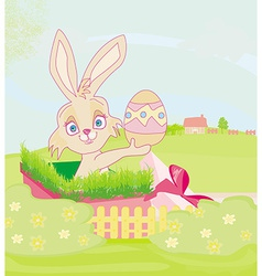 little rabbit in gift box easter surprise present vector image