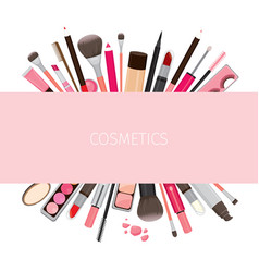 Makeup cosmetics tools on banner vector