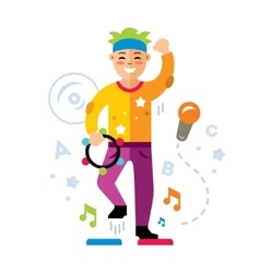 Man in karaoke club Flat style colorful vector image