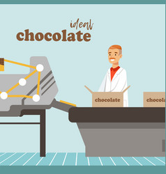 Man packing boxes chocolate on factory conveyor vector