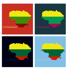 Map of lithuania with flag as texture isolated on vector