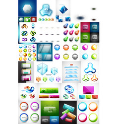 mega collection glass web banner plates boxes vector image