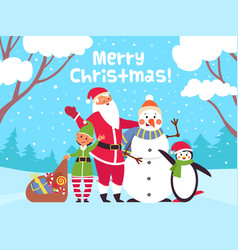 merry christmas characters poster xmas animals vector image