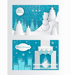 merry christmas cut out greeting card fire socks vector image
