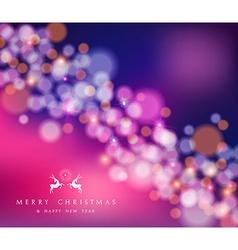 Merry christmas happy new year bokeh reindeer card vector image