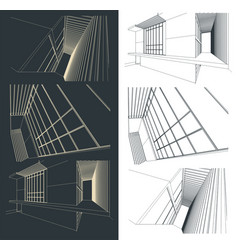 Modern buildings sketches and their fragments set vector