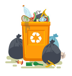 Overflowing trash can food garbage in waste bin vector