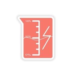 Paper sticker on white background beaker energy vector