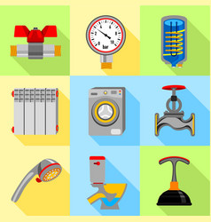 Plumbing service icons set flat style vector