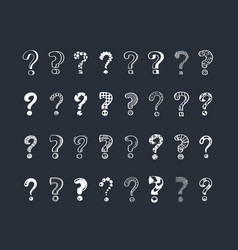 question marks cartoon white vector image