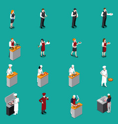 Restaurant staff isometric set vector