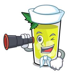 Sailor with binocular mint julep mascot cartoon vector