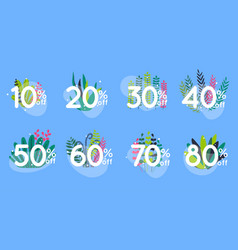 sale discount icons with leafs design special vector image
