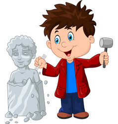 sculptor boy holding chisel and hammer vector image