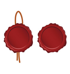 seal wax set in red color on white background vector image