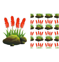 Seamless background design with aloe vera and vector