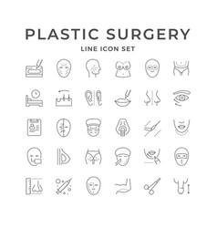 Set line icons plastic surgery vector
