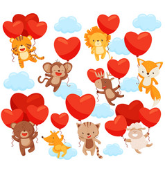 Set of cute animals flying in the sky with heart vector
