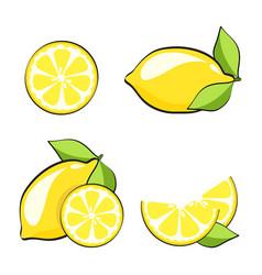 set yellow lemons in pop art retro comic style vector image