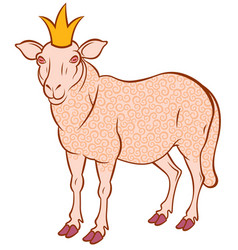sheep in the crown vector image vector image