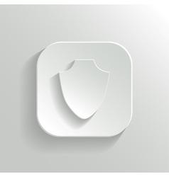 Shield icon - white app button vector image