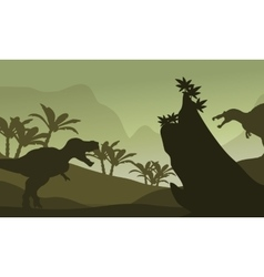 Silhouette of spinosaurus and T-Rex vector image