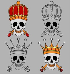 Skull Mascot King Crown vector
