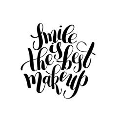 Smile is the best makeup handwritten brush vector