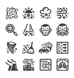 smog icon set vector image