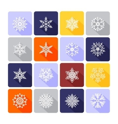 Snowflake flat icons vector