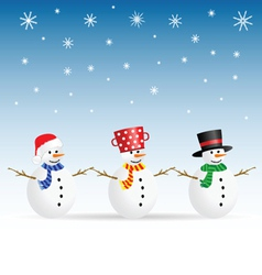 snowman set color vector image