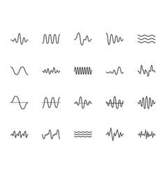 Sound waves flat line icons set vibration vector