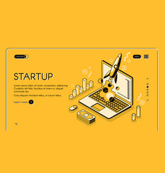 Startup business isometric line vector