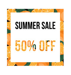 summer sale banner with oranges design template vector image