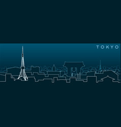 tokyo multiple lines skyline and landmarks vector image