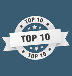 Top 10 ribbon top 10 round white sign top 10 vector