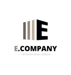 trendy isometric E letter logo vector image