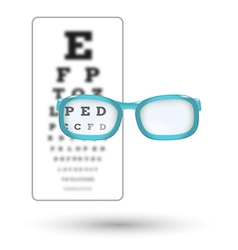 Unsharp snellen chart and sharp letter with vector