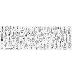 various electrical lamps doodle set vector image