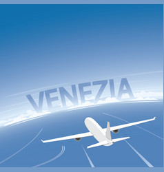 Venice skyline flight destination vector