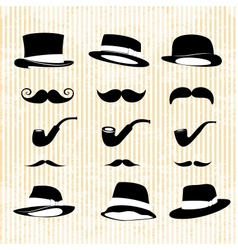 Vintage set with mustaches hats and one pipe vector
